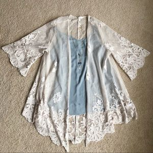 Maurices Cream Lace Kimono